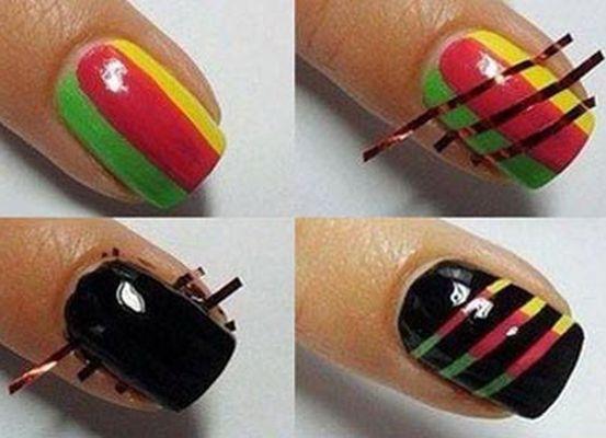Как сделать ногти лаком с полосками
