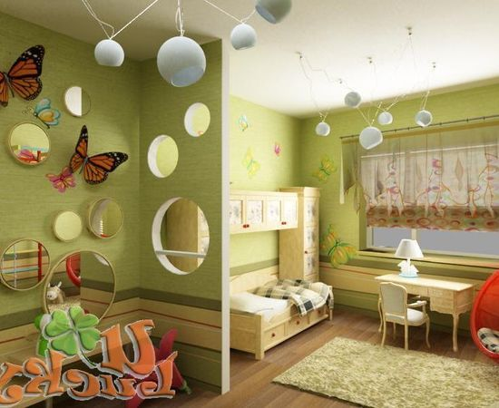 Фото - дизайн комнаты для младенца в зеленых тонах