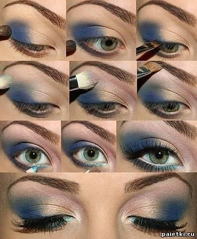 Фото - Голубой макияж зеленого глаза