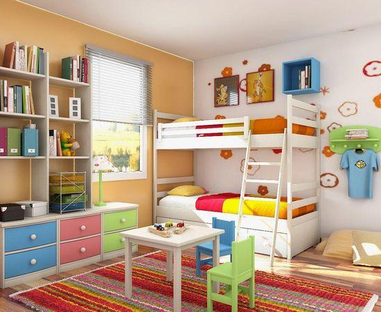 Фото - необычный дизайн интерьера комнаты для двоих детей