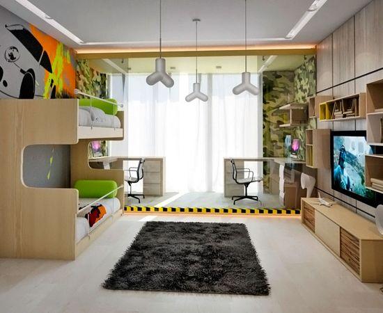 Фото - яркий дизайн комнаты для двоих детей