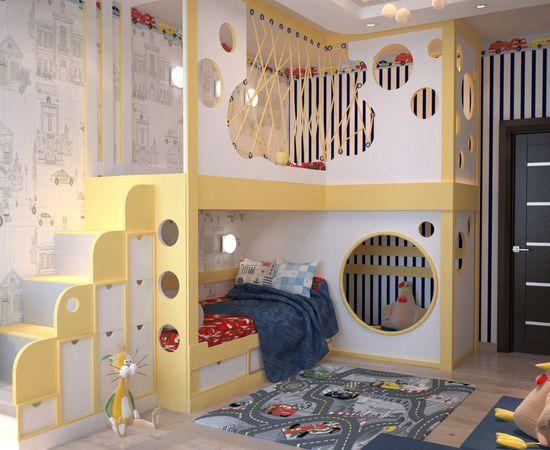 Фото - интересный дизайн детской комнаты для двоих