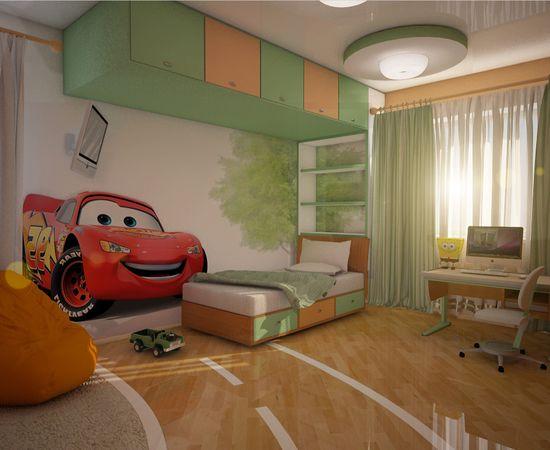 Фото - дизайн комнаты для мальчика Тачки