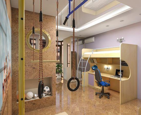 Фото - дизайн комнаты для мальчика со спортивным уголком