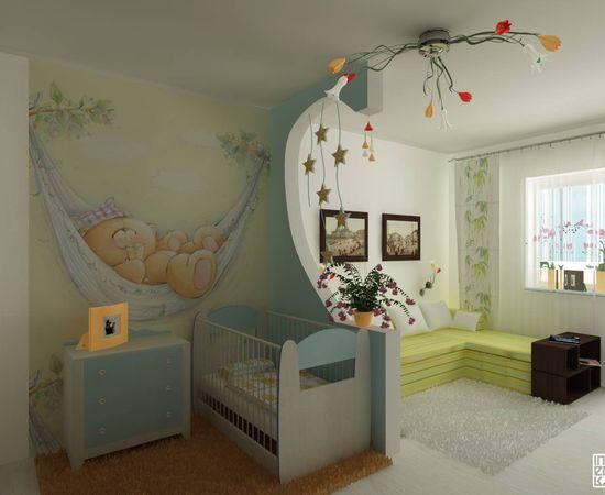 Фото - зонирование детской с помощью обоев