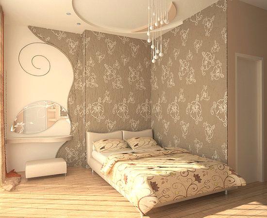 Фото - зонирование спального места с помощью обоев