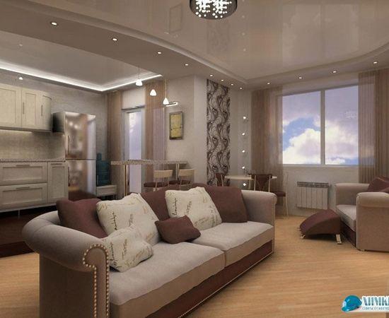 Фото - зонирование квартиры-студии с помощью обоев