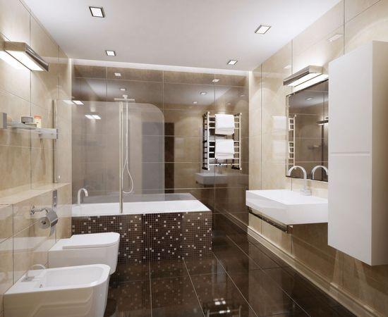 Дизайн ванной комнаты в спокойных тонах