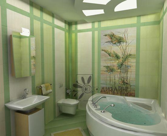 Дизайн ванной в травяной гамме