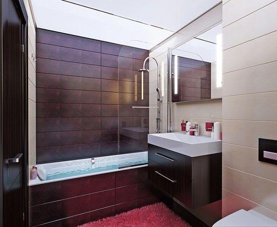 Строгий современный дизайн ванной комнаты