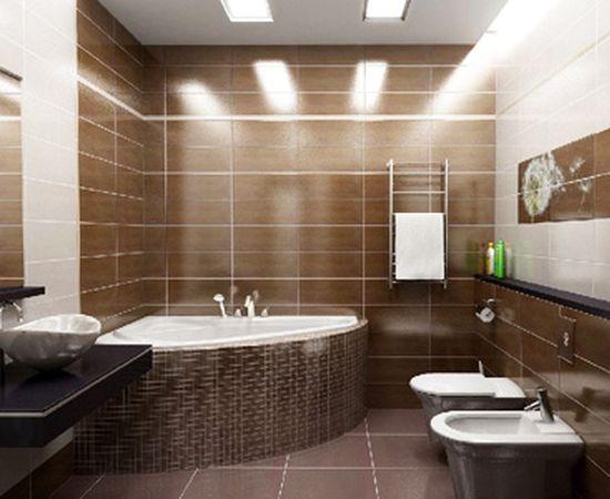 Ванная комната в коричнево-белых тонах