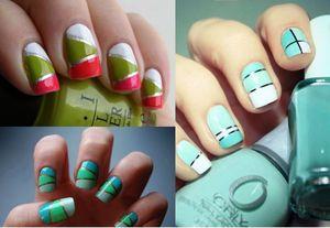 Фото - Геометрические фигуры на коротких ногтях