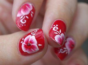 Фото - Роспись акрилом на коротких ногтях