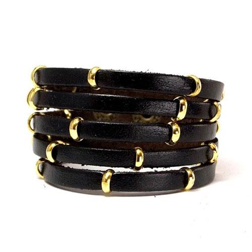 Фото - Кожаный браслет черный