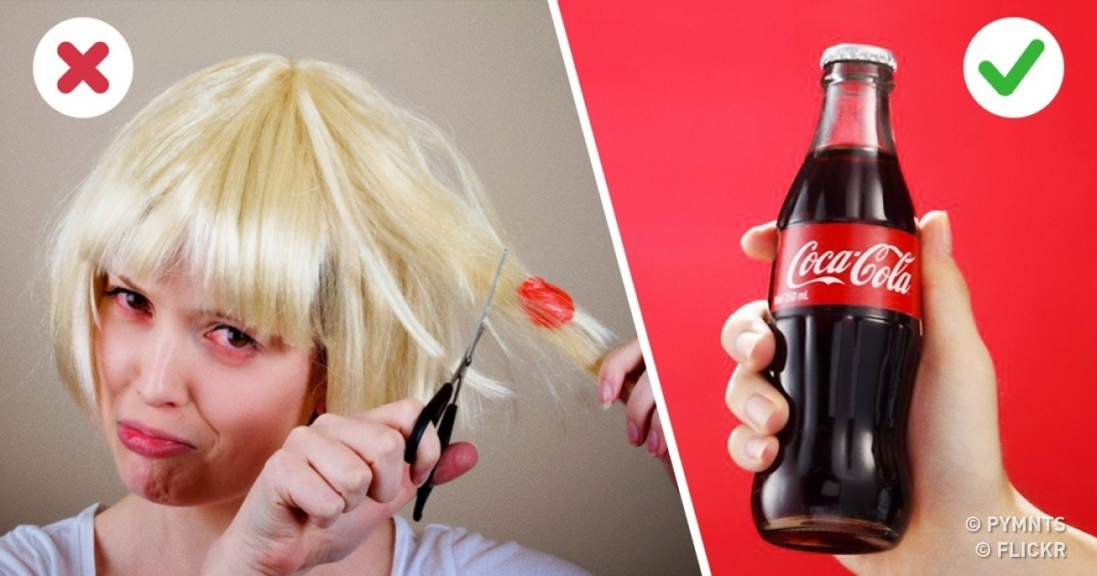 Удалить жвачку с волос кока-колой