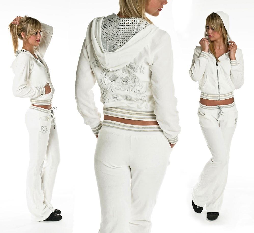 Белый спортивный костюм со стразами